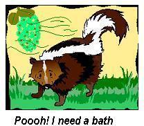 noni plant and skunk cartoon